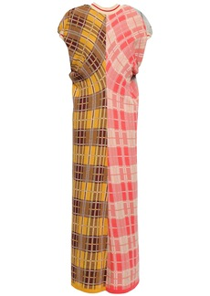Marni Woman Paneled Checked Cotton-blend Midi Dress Multicolor
