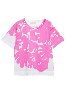 Marni Woman Paneled Printed Cotton-jersey T-shirt Pink