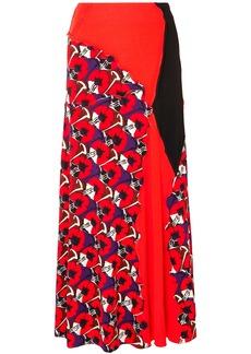 Marni Woman Paneled Printed Jersey Maxi Skirt Tomato Red