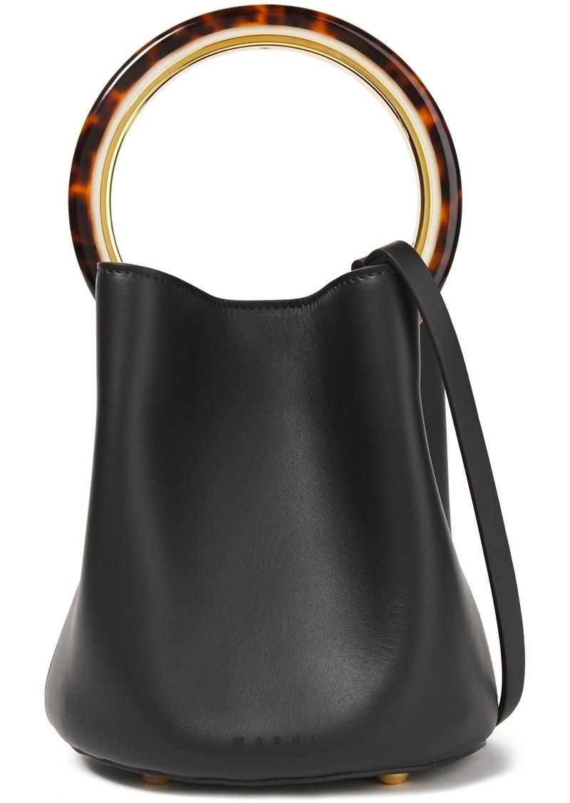 Marni Woman Pannier Mini Leather Bucket Bag Black