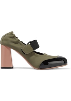 Marni Woman Patent Leather-trimmed Neoprene Mary Jane Pumps Sage Green