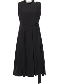 Marni Woman Pleated Button-embellished Cotton-poplin Wrap Dress Black
