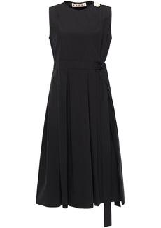 Marni Woman Pleated Button-embellished Cotton-poplin Wrap Dress Black
