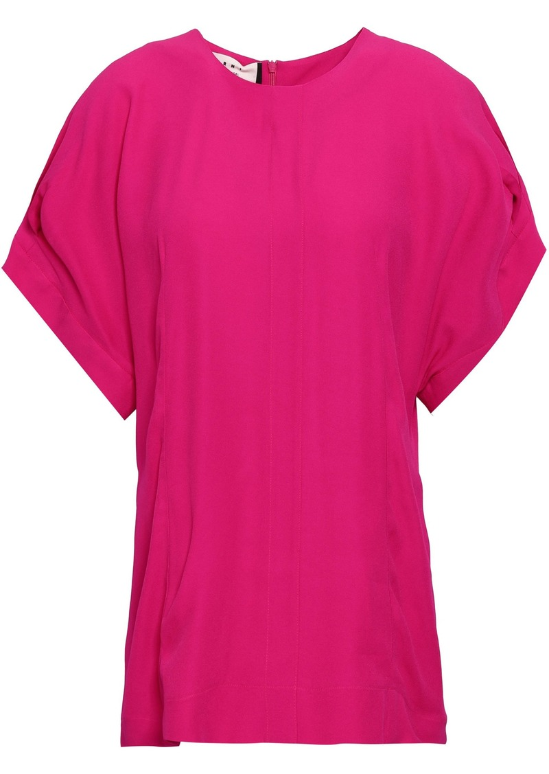 Marni Woman Pleated Cady Blouse Fuchsia
