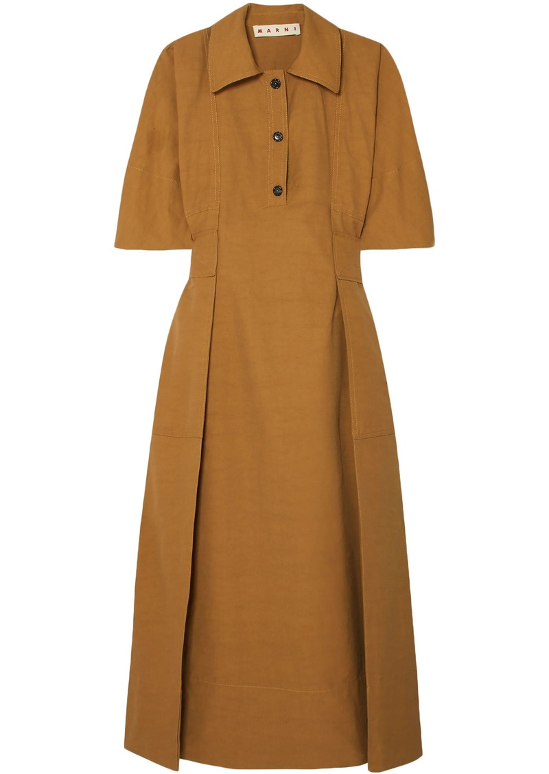 Marni Woman Pleated Canvas Midi Dress Camel