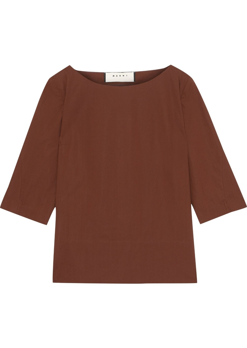 Marni Woman Pleated Cotton-poplin Blouse Brown