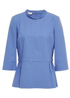 Marni Woman Pleated Cotton-poplin Blouse Light Blue