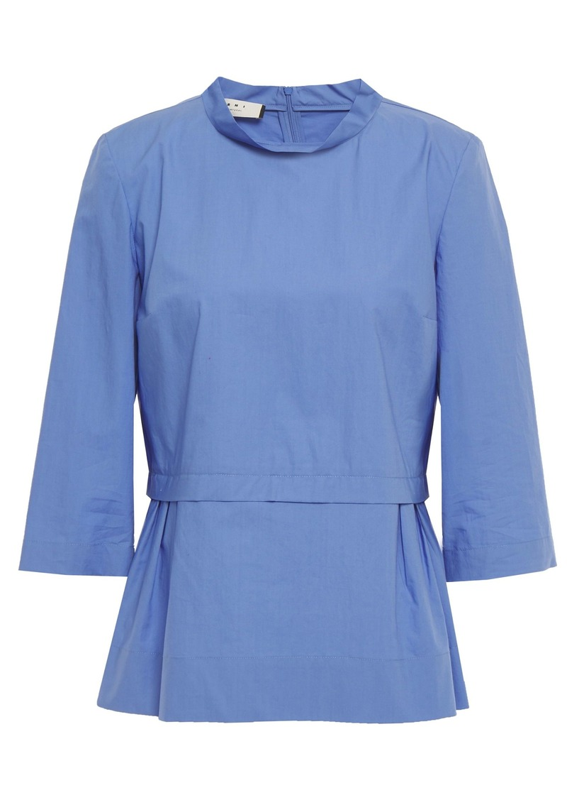 Marni Woman Pleated Cotton-poplin Blouse Light Blue