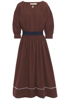 Marni Woman Pleated Cotton-poplin Midi Dress Chocolate