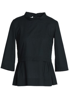 Marni Woman Pleated Cotton-poplin Peplum Top Black