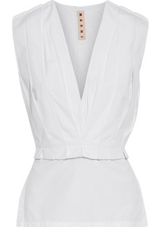 Marni Woman Pleated Cotton-poplin Peplum Top White