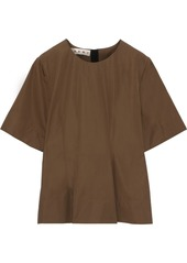Marni Woman Pleated Cotton-poplin Top Brown