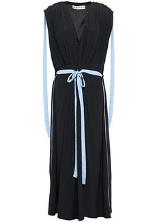 Marni Woman Belted Pleated Crepe De Chine Midi Dress Black