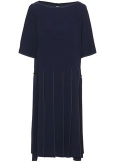 Marni Woman Pleated Embroidered Crepe De Chine Dress Midnight Blue