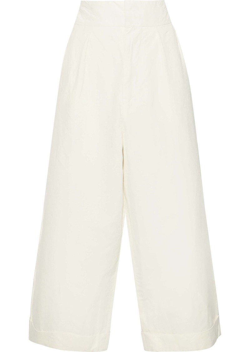 Marni Woman Pleated Linen-blend Twill Culottes Ivory