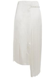 Marni Woman Asymmetric Pleated Satin Midi Skirt Cream