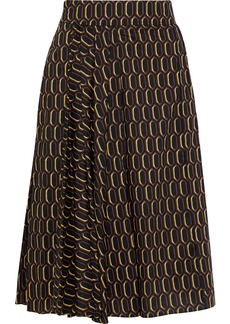 Marni Woman Pleated Printed Cotton-poplin Skirt Black