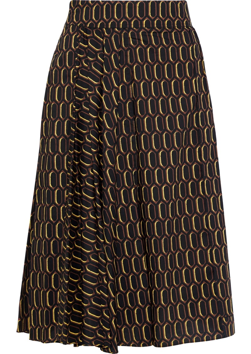 Marni Woman Pleated Printed Cotton-poplin Skirt Black