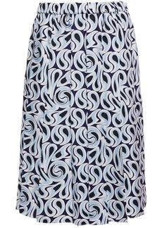 Marni Woman Pleated Printed Silk-twill Skirt Light Blue