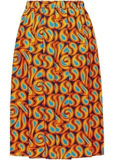 Marni Woman Pleated Printed Silk-twill Skirt Orange
