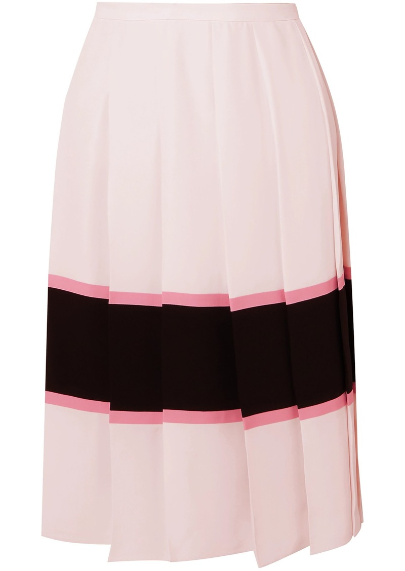 Marni Woman Pleated Striped Crepe De Chine Skirt Pastel Pink