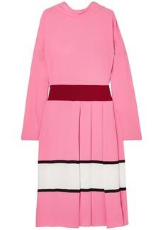 Marni Woman Pleated Striped Crepe Midi Dress Pink