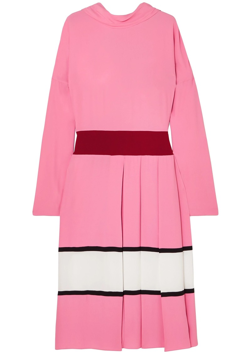 Marni Woman Pleated Striped Crepe Midi Dress Pink