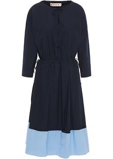 Marni Woman Pleated Two-tone Cotton-poplin Dress Midnight Blue