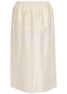Marni Woman Polka-dot Satin Midi Skirt Yellow