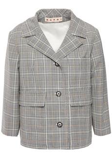 Marni Woman Prince Of Wales Checked Woven Jacket Gray