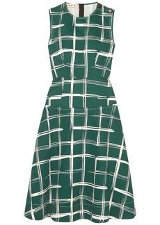 Marni Woman Printed Cotton And Flax-blend Midi Dress Emerald