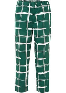 Marni Woman Printed Cotton And Flax-blend Slim-leg Pants Emerald