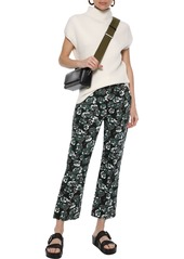 Marni Woman Printed Cotton And Linen-blend Twill Flared Pants Emerald