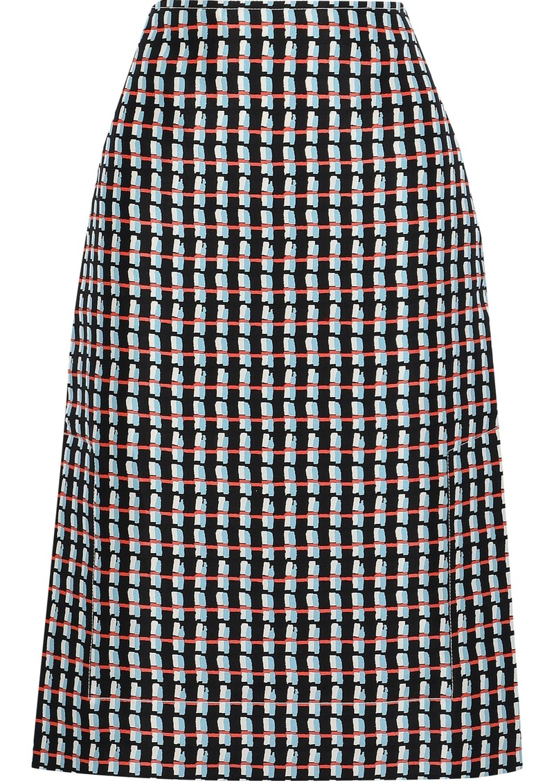 Marni Woman Printed Cotton And Silk-blend Canvas Skirt Black