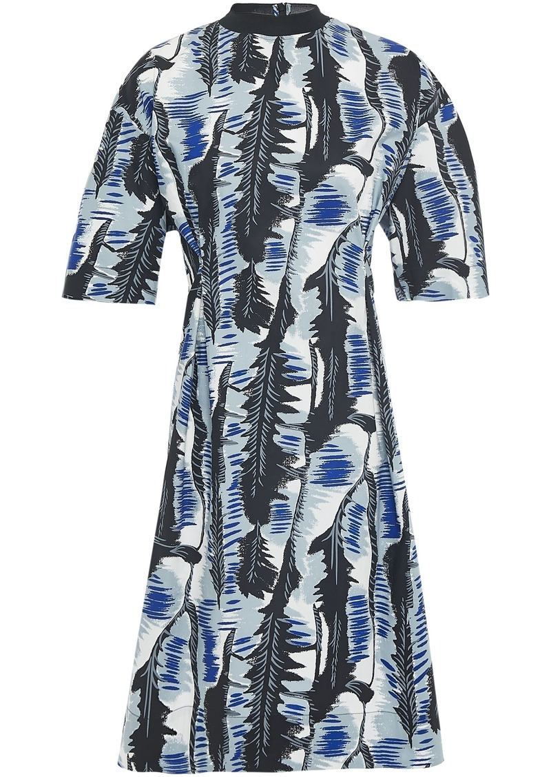 Marni Woman Printed Cotton-blend Poplin Dress Light Blue