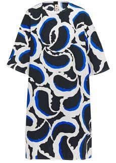 Marni Woman Printed Cotton-poplin Dress Midnight Blue