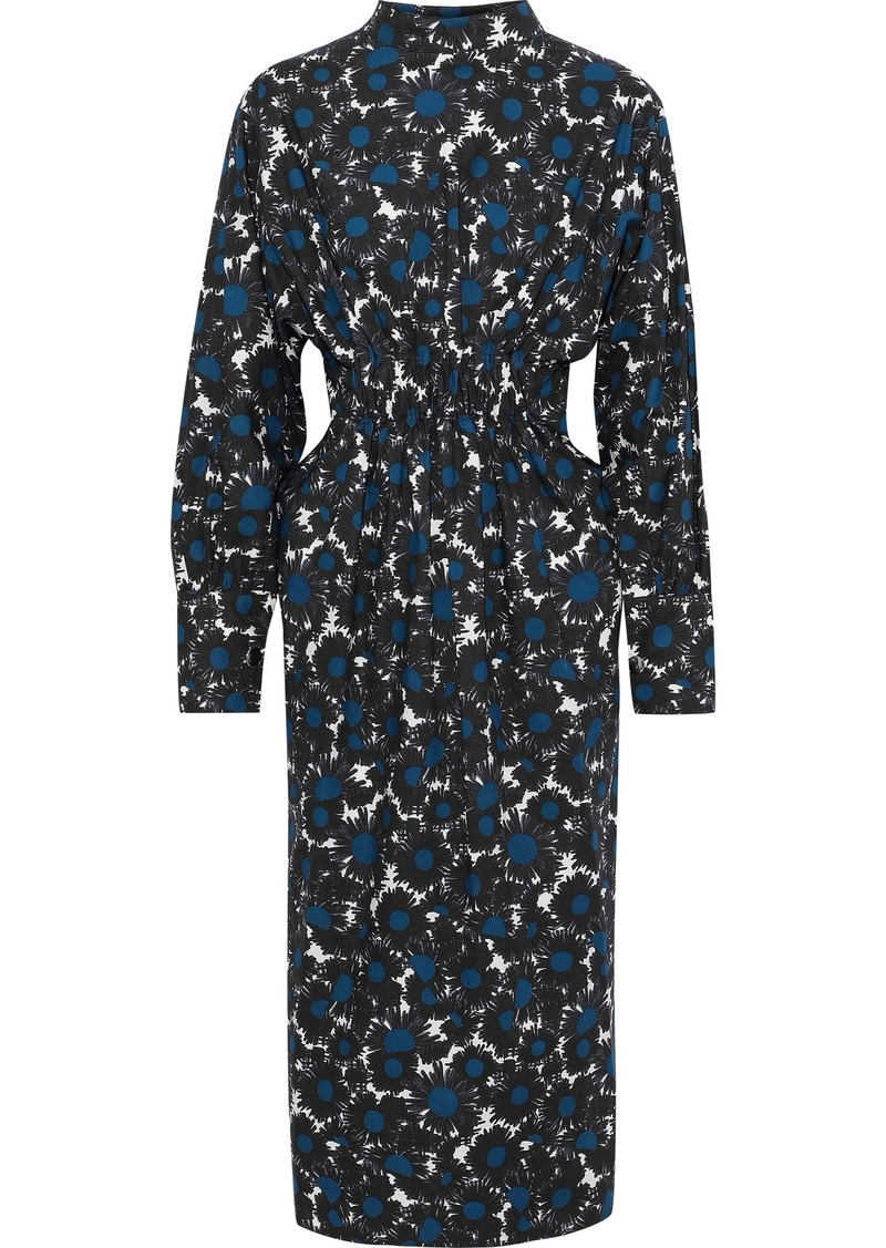Marni Woman Printed Cotton-poplin Midi Dress Multicolor