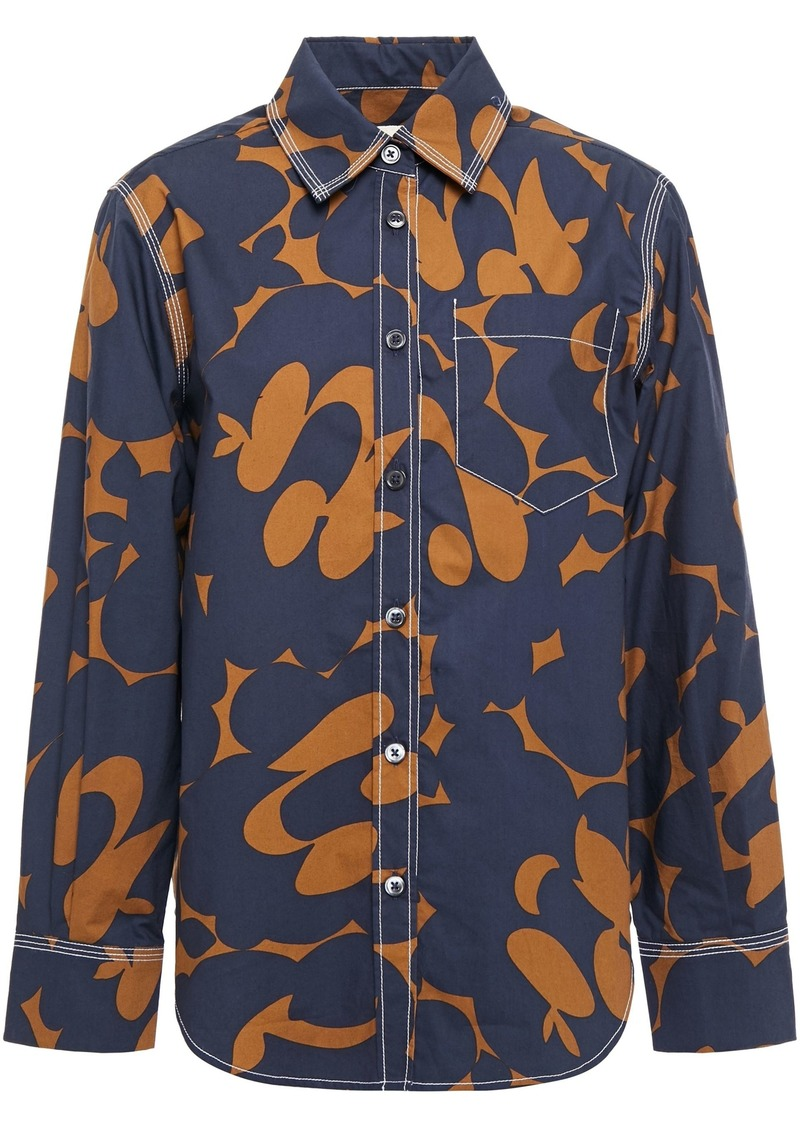 Marni Woman Printed Cotton-poplin Shirt Midnight Blue