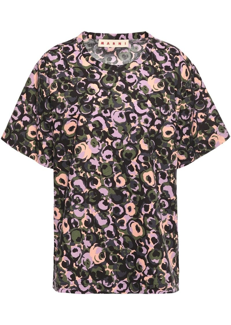 Marni Woman Printed Cotton-poplin Top Army Green