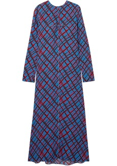 Marni Woman Printed Crepe Maxi Dress Blue