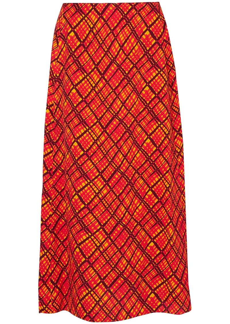 Marni Woman Printed Crepe Maxi Skirt Bright Orange