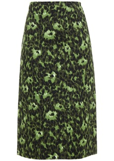 Marni Woman Printed Matelassé Cotton Skirt Leaf Green