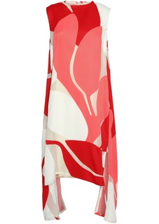 Marni Woman Printed Mesh-paneled Faille Dress Red