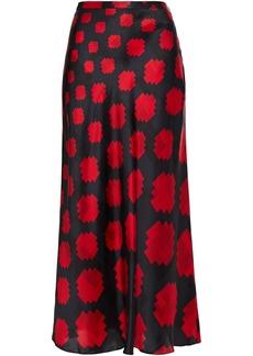 Marni Woman Printed Satin-crepe Midi Skirt Black