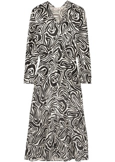 Marni Woman Printed Satin Midi Dress Black