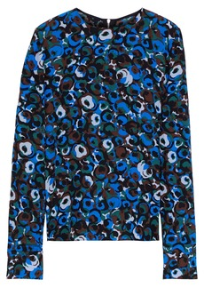 Marni Woman Printed Silk-crepe Blouse Royal Blue