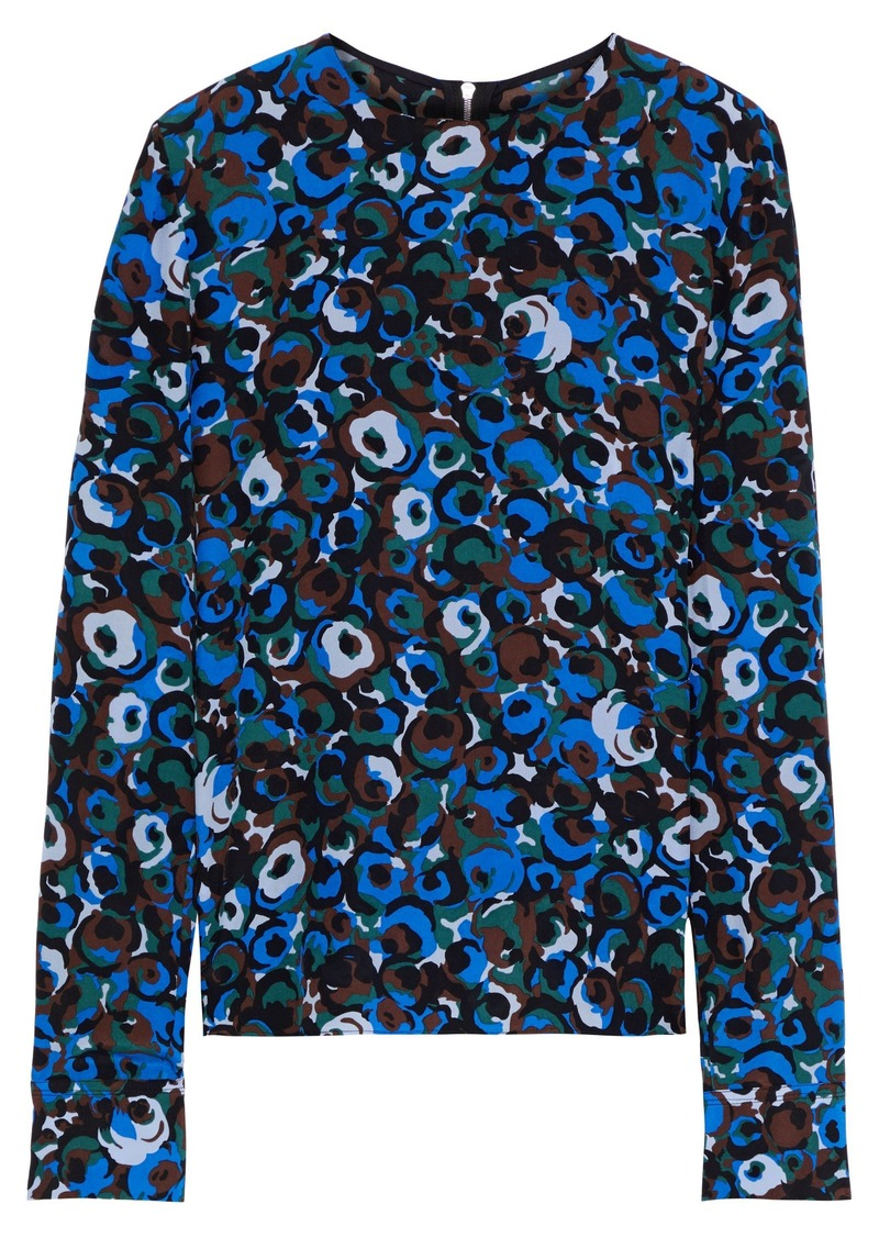 Marni Woman Printed Silk-crepe Blouse Royal Blue