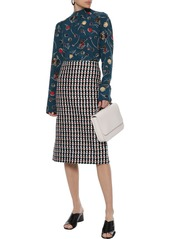 Marni Woman Printed Silk Crepe De Chine Blouse Petrol