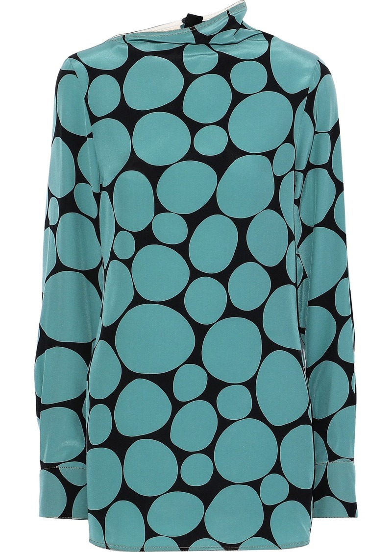 Marni Woman Printed Silk Crepe De Chine Blouse Teal