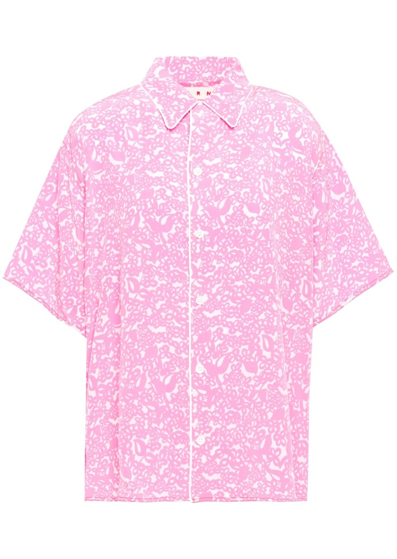 Marni Woman Printed Silk Crepe De Chine Shirt Bubblegum